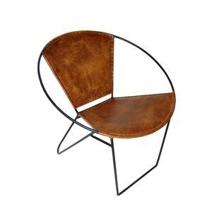TRADEMARK LIVING Trendy lænestol - ægte brunt læder