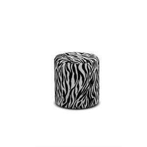 Haga Gruppen HAGA Pisa puf - zebra mønstret fløjl stof, rund (Ø 35)