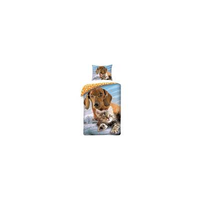 MCU Hund og Kat Sengetøj Design - 100 Procent Bomuld - Baby Spisetid - MCU