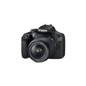 Canon EOS 2000D - Digitalkamera - SLR - 24.1 MP - APS-C - 1080p / 30 fps - 3x optisk zoom EF-S 18-55 mm IS II og EF 75-300 mm III objektiver - Wi-Fi, NFC