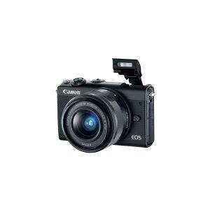 Canon EOS M100 - Digitalkamera - spejlløst - 24.2 MP - APS-C - 1080p / 60 fps - 3x optisk zoom EF-M 15-45 mm IS og 55-200 mm objektiver - Wi-Fi, NFC, Bluetooth - sort