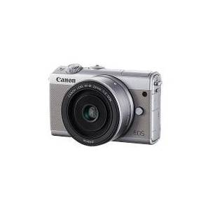 Canon EOS M100 - Digitalkamera - spejlløst - 24.2 MP - APS-C - 1080p / 60 fps - 3x optisk zoom EF-M 15-45 mm IS objektiv - Wi-Fi, NFC, Bluetooth - gr