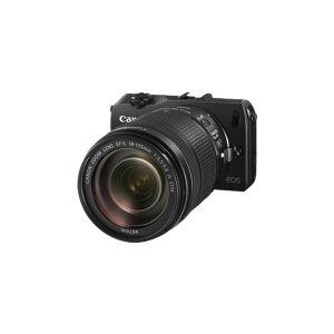 Canon EOS M - Digitalkamera - spejlløst - 18.0 MP - APS-C - 1080p - 3x optisk zoom EF-S 18-55 mm IS objektiv - sort - med Canon Speedlite 90EX