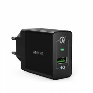 Anker PowerPort+ 1 Quick Charge USB oplader 3.0, 0,9 m. Micro USB kabel, Sort