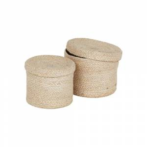 Dixie-Jute Basket With Lid 2-pack, White