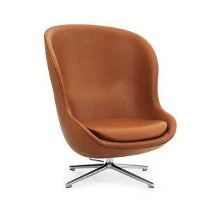 Normann Copenhagen lænestol høj m. drejestel og vippefunktion - Ultra læder brandy