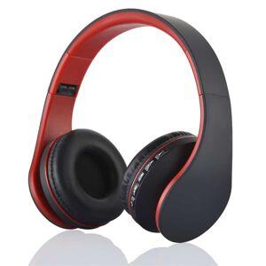 BTH-811 4-i-1 Over-øre Trådløs Bluetooth Hovedtelefon med Mikrofon Support FM/Aux-in/TF Card - Rød