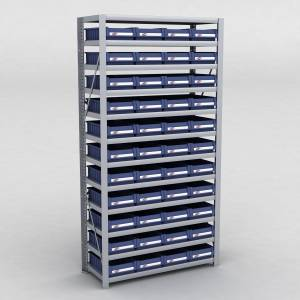 Arkivreol med 44 plastkasser D: 40 cm