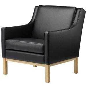 FDB Møbler Erik Wørts lænestol - L603 - Eg/sort læder