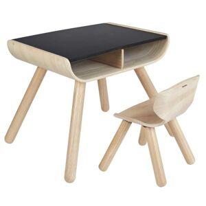 Plantoys stol og bord - Natur/sort
