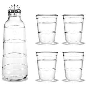 Holmegaard flaske og 4 drikkeglas - Scala