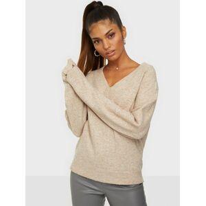 NLY Trend Easy V-neck Sweater Strikkede trøjer Beige