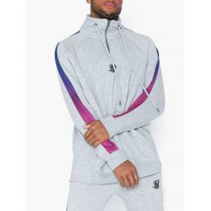 SikSilk 1/4 Zip Fade Panel Top Trøjer Grey Melange