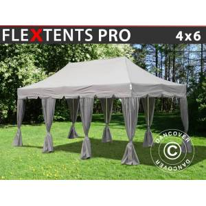 "Dancover Foldetelt FleXtents Easy up pavillon PRO ""Peaked"" 4x6m Latte, inkl. 8 pyntegardi"