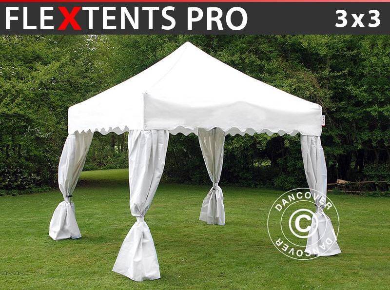 "Dancover Foldetelt FleXtents Easy up pavillon PRO ""Wave"" 3x3m Hvid, inkl. 4 pyntegardiner"