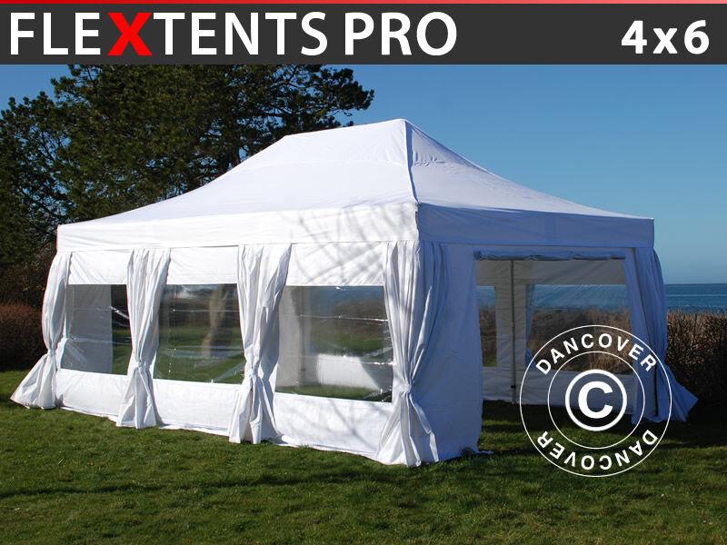 Dancover Foldetelt FleXtents Easy up pavillon PRO 4x6m Hvid, inkl. 8 sider & pyntegardine