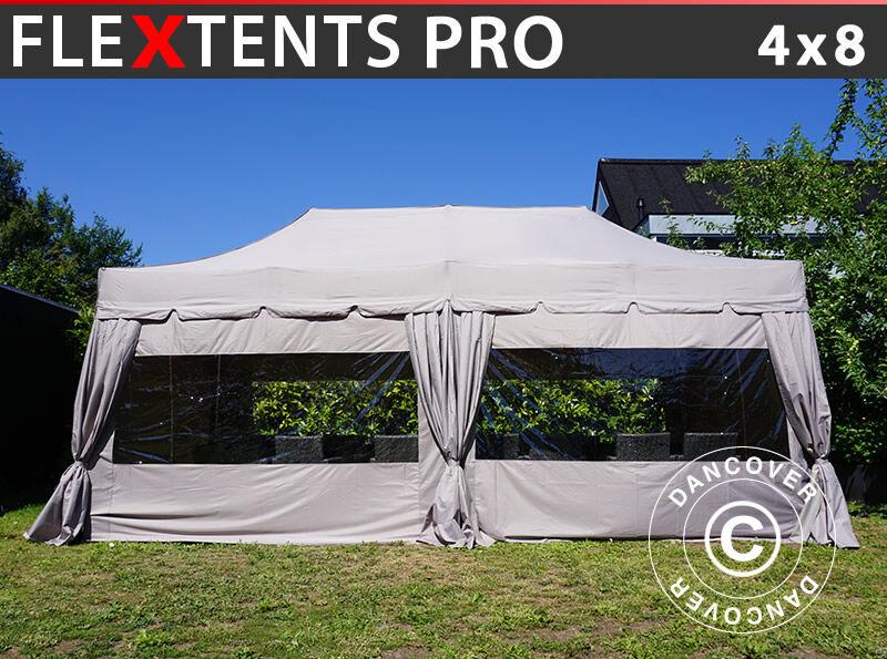 "Dancover Foldetelt FleXtents Easy up pavillon PRO ""Peaked"" 4x8m Latte, inkl. 6 sidevægge"