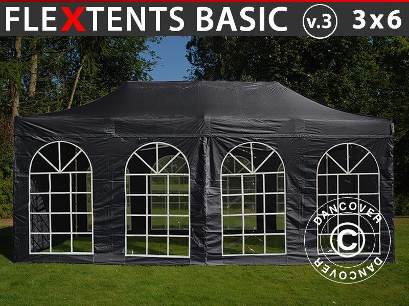 Dancover Foldetelt FleXtents Easy up pavillon Basic v.3, 3x6m Sort, inkl. 4 sider