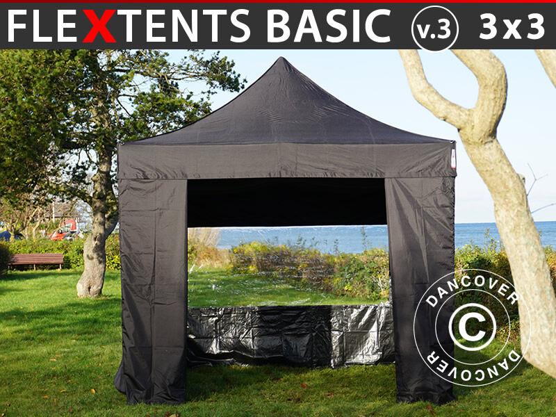 Dancover Foldetelt FleXtents Easy up pavillon Basic v.3, 3x3m Sort, inkl. 4 sider