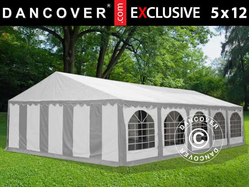 Dancover Partytelt Festtelt Exclusive 5x12m PVC, Grå/Hvid