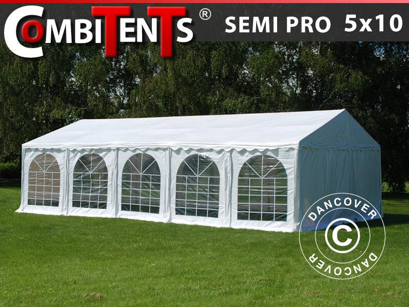Dancover Partytelt Festtelt, SEMI PRO Plus CombiTents® 5x10m, 3-i-1, Hvid