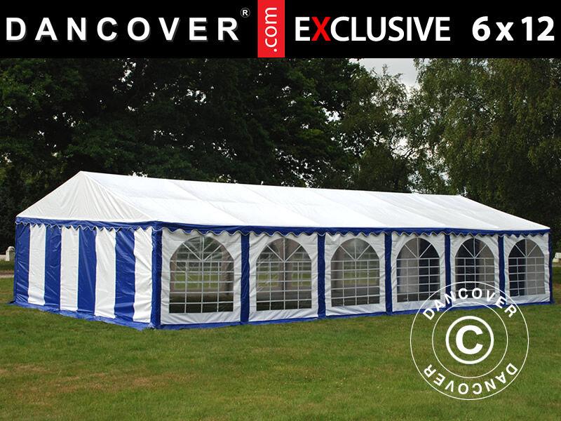 Dancover Partytelt Festtelt Exclusive 6x12m PVC, Blå/Hvid