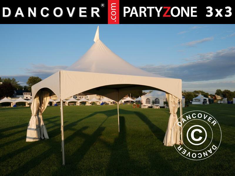 Dancover Pagodetelt PartyZone 3x3m, PVC, Hvid