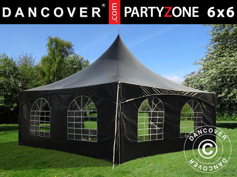 Dancover Pagodetelt PartyZone 6x6m, PVC, Sort