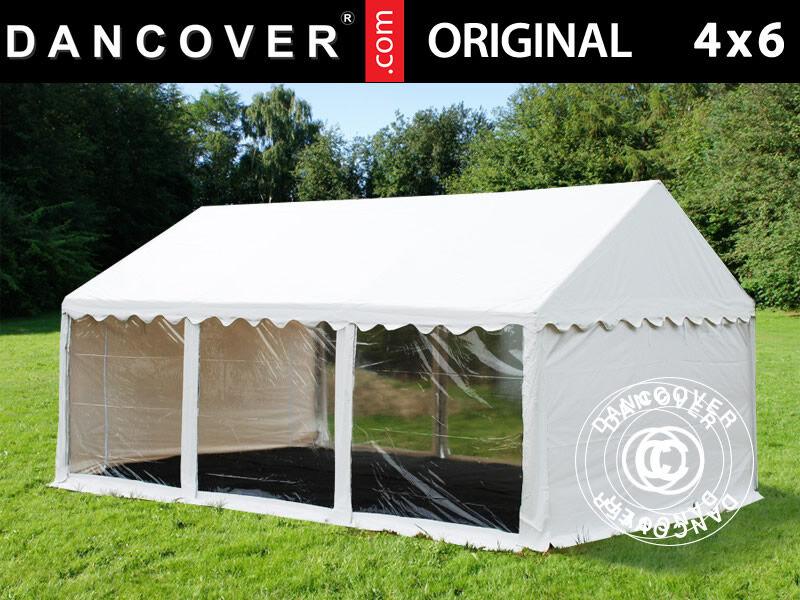 Dancover Partytelt Festtelt Original 4x6m PVC, Panorama, Hvid