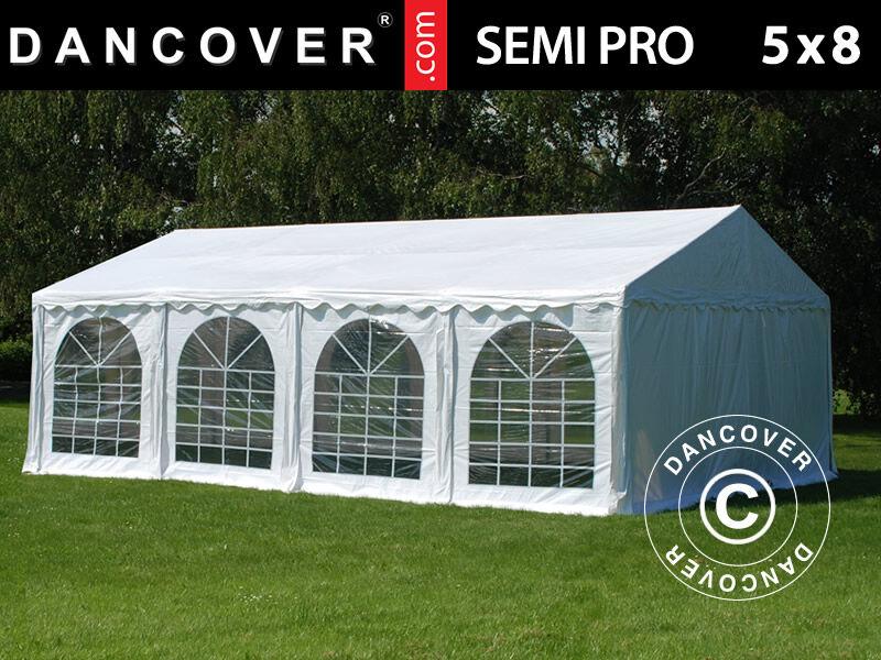 Dancover Partytelt Festtelt SEMI PRO Plus 5x8m PVC, Hvid