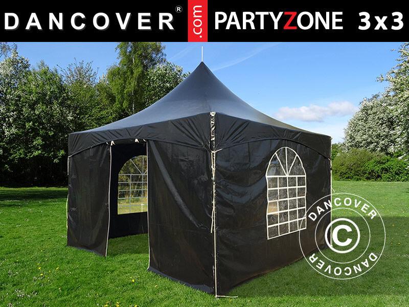 Dancover Pagodetelt PartyZone 3x3m, PVC, Sort