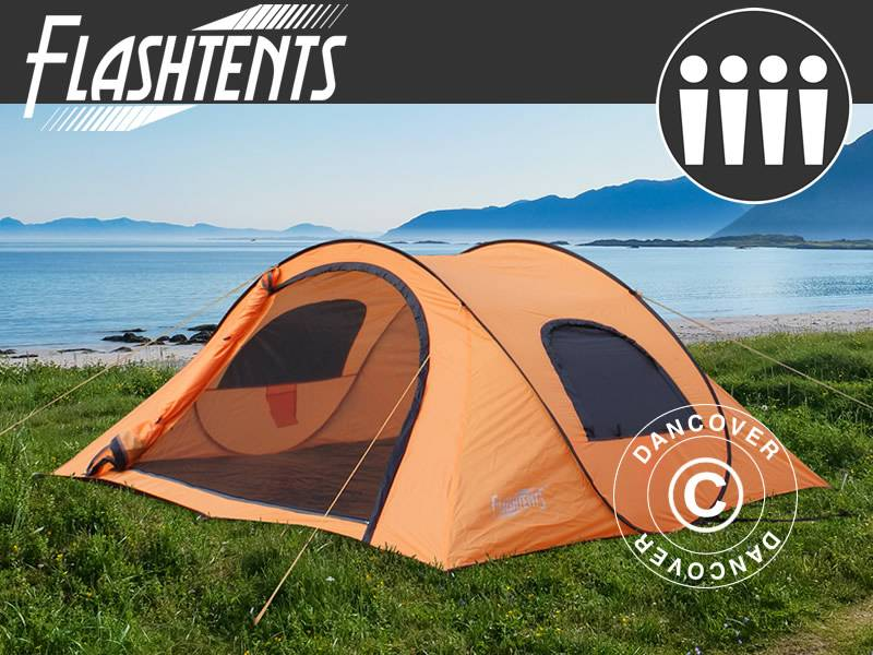 Dancover Campingtelt Festivaltelt pop-up, Flashtents®, 4 personer, Medium PT-1, Orange/Mø