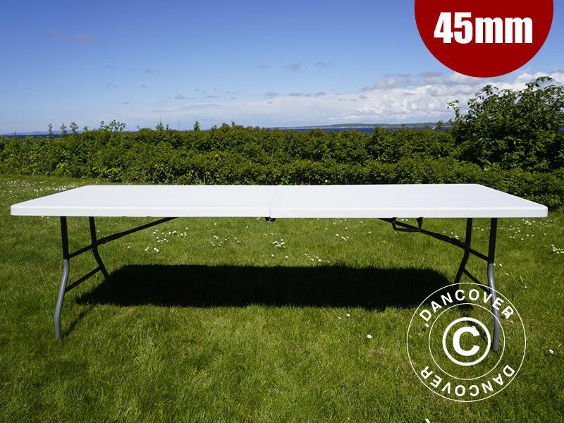 Dancover Klapbord Foldebord Partybord 240x76x74cm, Lysegrå (25 stk.)