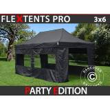 Dancover Foldetelt FleXtents Easy up pavillon PRO 3x6m Sort, inkl. 6 sider