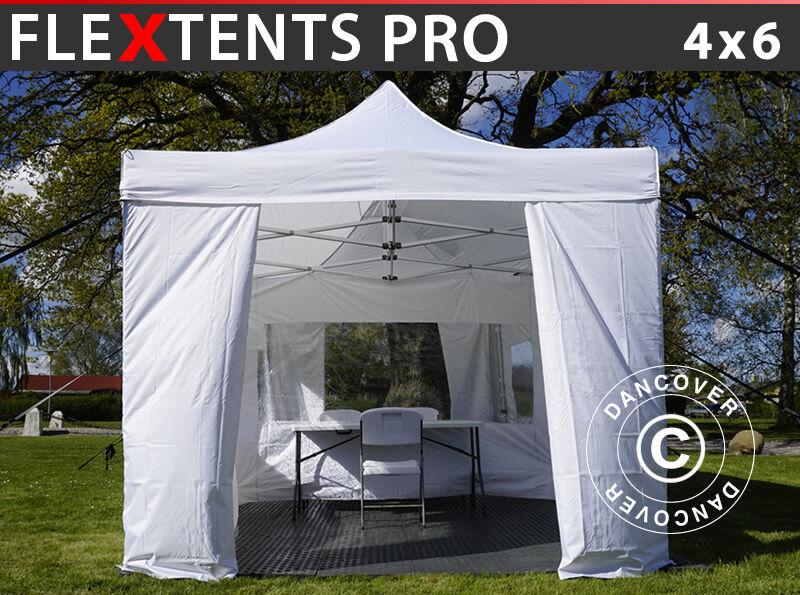 Dancover Besøgstelt FleXtents Easy up pavillon PRO 4x6m Hvid, inkl. 8 sider og 1 panorama