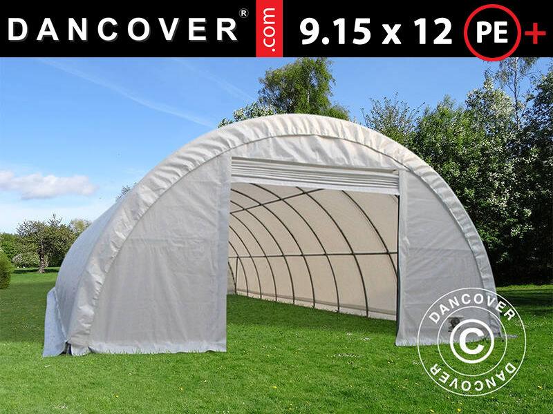 Dancover Rundbuehal/Telthal Lagertelt 9,15x12x4,5m, PE, Hvid