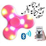 Fidget spinner med bluetooth højtaler og LED - Klar pink