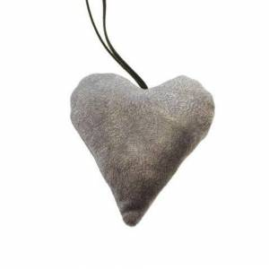 Hjerte i velour - H 10 cm - Grå