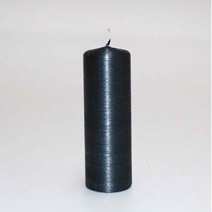 Børstet bloklys Lak - Grafit-sort - 18 x 6 cm