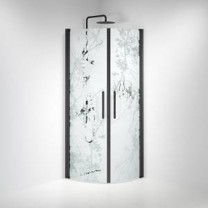 BDA Living Brusedøre Fjäll, Buet Mat Decor Glas, Sort Profil - 90 x 90 x 198 cm / Mønstret / Sort