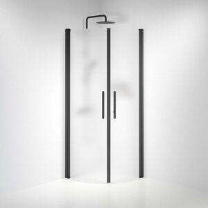 BDA Living Brusedøre Fjäll, Buet Mat Glas, Sort Profil - 100 x 100 x 198 cm / Mat / Sort