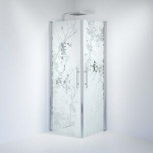 BDA Living Brusedøre Fjäll, Firkantet Mat Decor Glas, Krom Profil - 90 x 100 x 198 cm / Mønstret / Krom