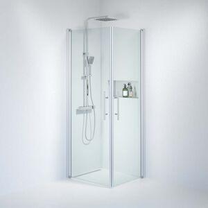 BDA Living Brusedøre Fjäll, Firkantet Klar Glas, Satin Profil - 70 x 80 x 198 cm / Klar / Satin