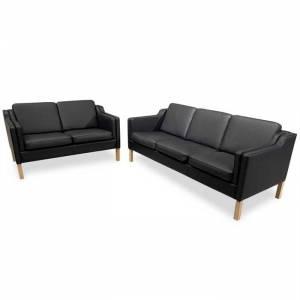 Svane Design Boston Sæt i Sort Læder 3 personers og 2-Personers Sofa