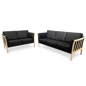 Svane Design Denver Sæt med 3-Personers og 2-Personers Sofa i Sort Læder