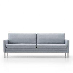 Mogens Hansen   MH2615 sofa 4 pers. (2 hynder) Børstet stål Oliven læder