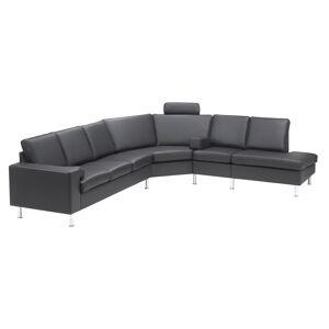 MyHomeMøbler My Sofa Opst 2, I Sort Læder, Venstrevendt