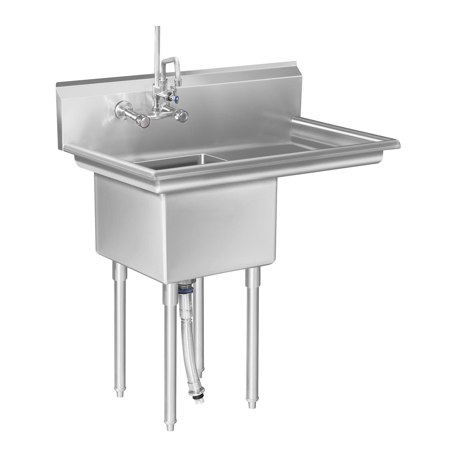 Royal Catering Stålvask med drypbakke - 1 vask RCHS-6