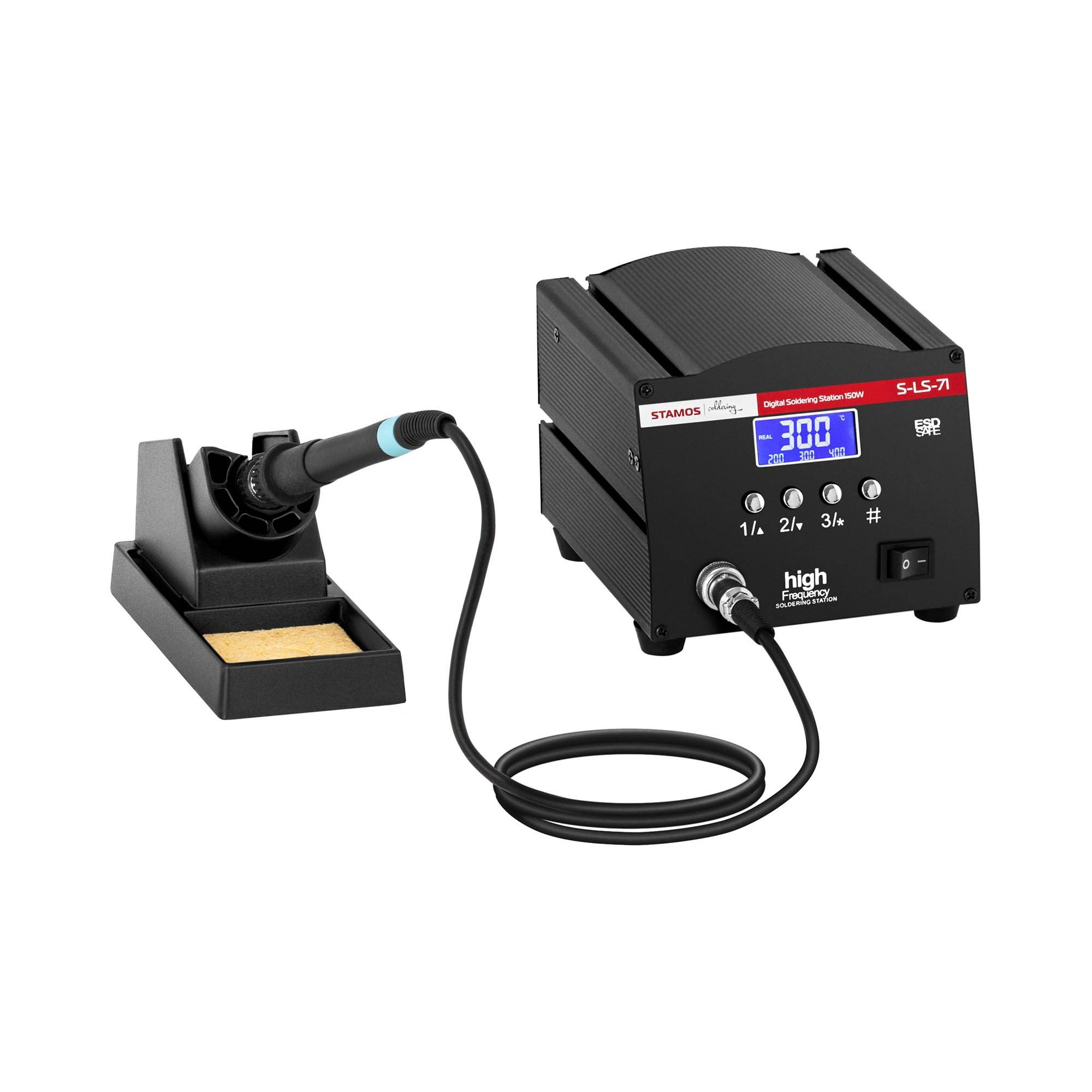 Stamos Soldering Loddestation - digital - med loddekolbe og loddekolbeholder - 150 W - LCD S-LS-71