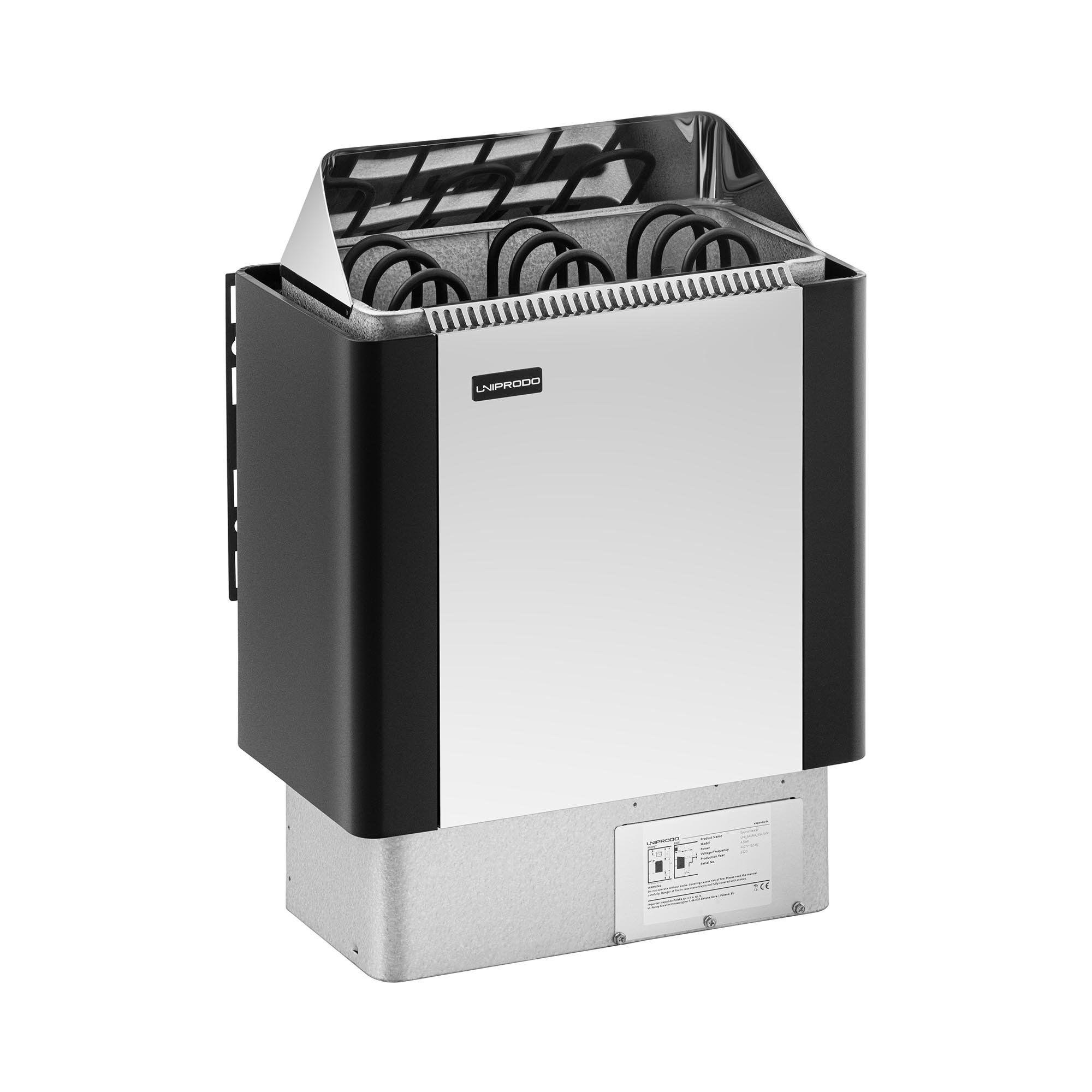 Uniprodo Saunaovn - 4,5 kW - 30 til 110 °C - front af rustfrit stål UNI_SAUNA_BS4.5KW
